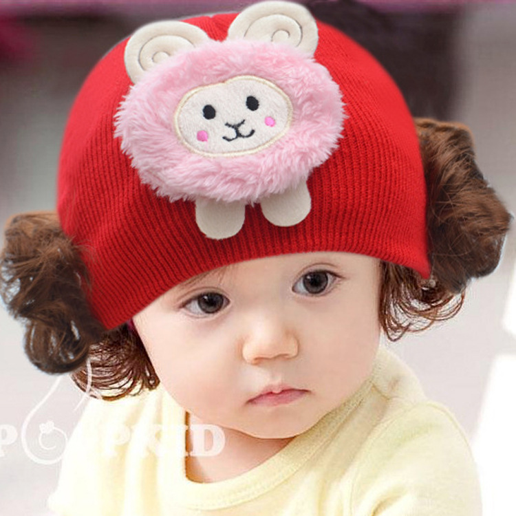 Baby Hats and Caps With Flower Brim and Lovely Rabbit Girl Crochet Winter Wig hats 2016 For Infant 2-12 months(China (Mainland))