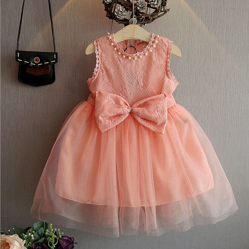 Girls dress summer 2016 toddler girl party dresses kids wedding dresses for girls clothes princess lace bow children clothing(China (Mainland))