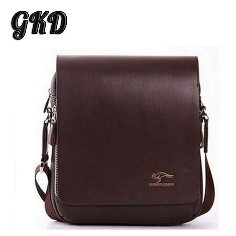 2016 Men's Bag High Grade PU Leather Men Messenger Bag Australia Kangaroo Logo Zipper Shoulder Bags Briefcase A9101(China (Mainland))