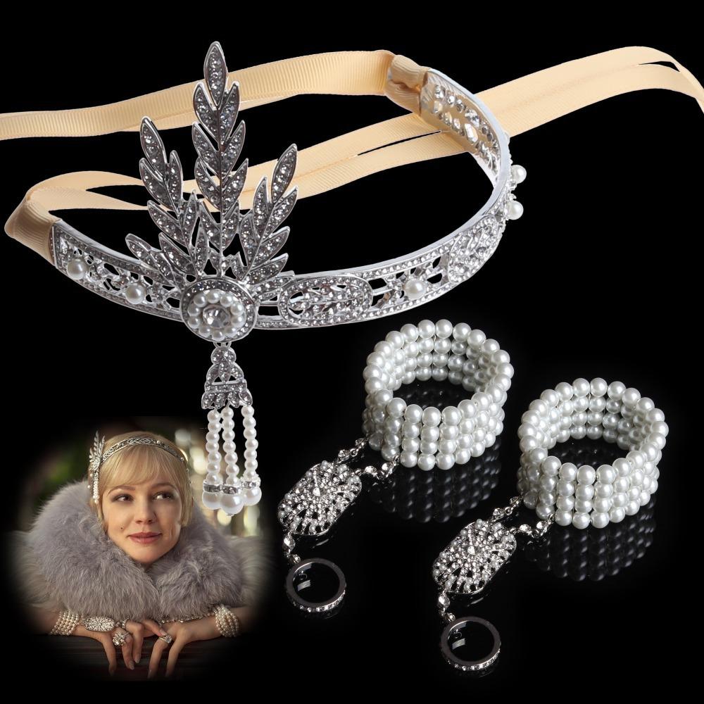 2014 Fashion Hair Accessories,The Great Gatsby DAISY Crystals Pearl Tassels Hair HoopHeadband Bracelet Set,Wedding Bridal Tiara(China (Mainland))
