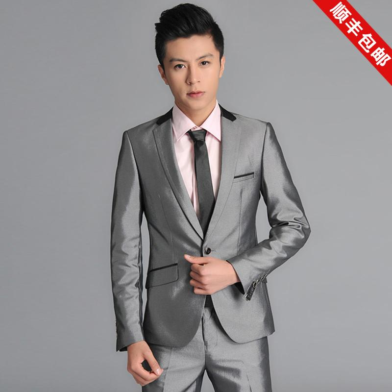 Cheap Shiny Suits Shiny Silver Grey Male Suits