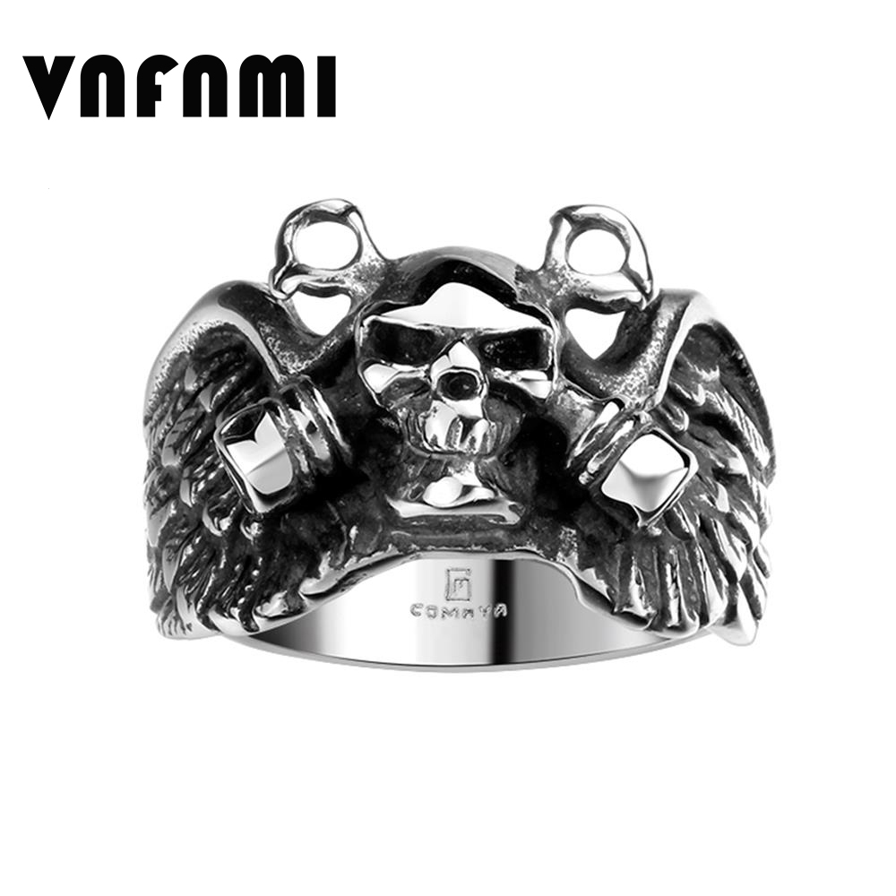 VNFNMI Big Black Ring 316L Stainless Steel Skull Heads Gothic Man Engagement Rings for Women Men Jewelry Promotion Cheap Price(China (Mainland))