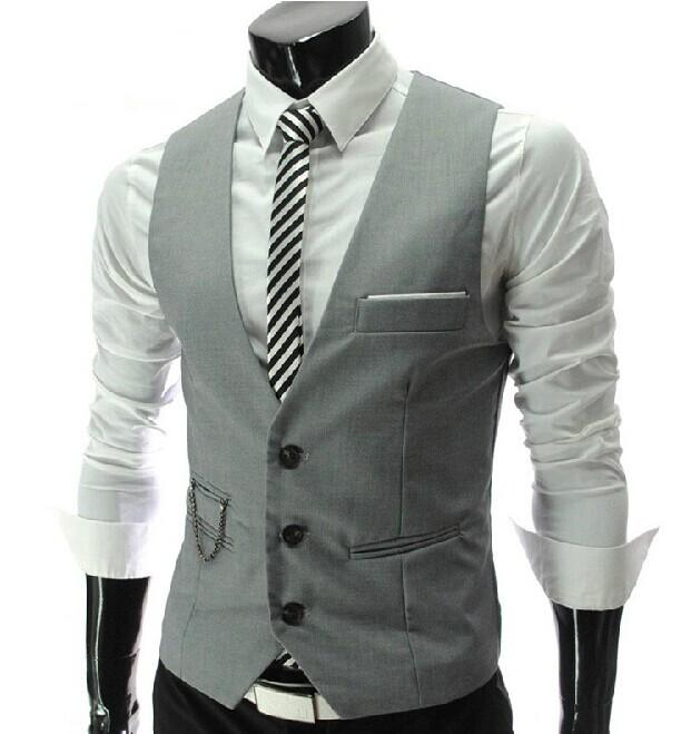 2015 New Arrival! Slim Fit Dress Suit Vest Men, Mens Vest With a Chain, Leisure Waistcoat Men Casual Business Jacket Tops ML140