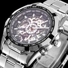 Lujo Men 's negro acero completo transparente automático esquelético mecánico relojes vestido reloj de plata para hombre Relogio Masculino