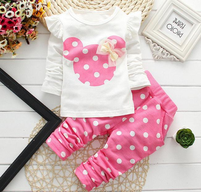 2016 New kids clothes girl baby long rabbit sleeve cotton Minnie casual suits baby clothing retail children suits Free shipping(China (Mainland))