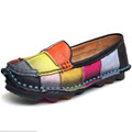 colors casual shoes flats Handmade vintage women s shoes genuine leather female moccasins loafers soft cow