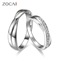 ZOCAI ENCOUNTER 0.15 CT CERTIFIED H / SI DIAMOND HIS AND HERS WEDDING BAND RINGS SETS ROUND CUT 18K WHITE GOLD