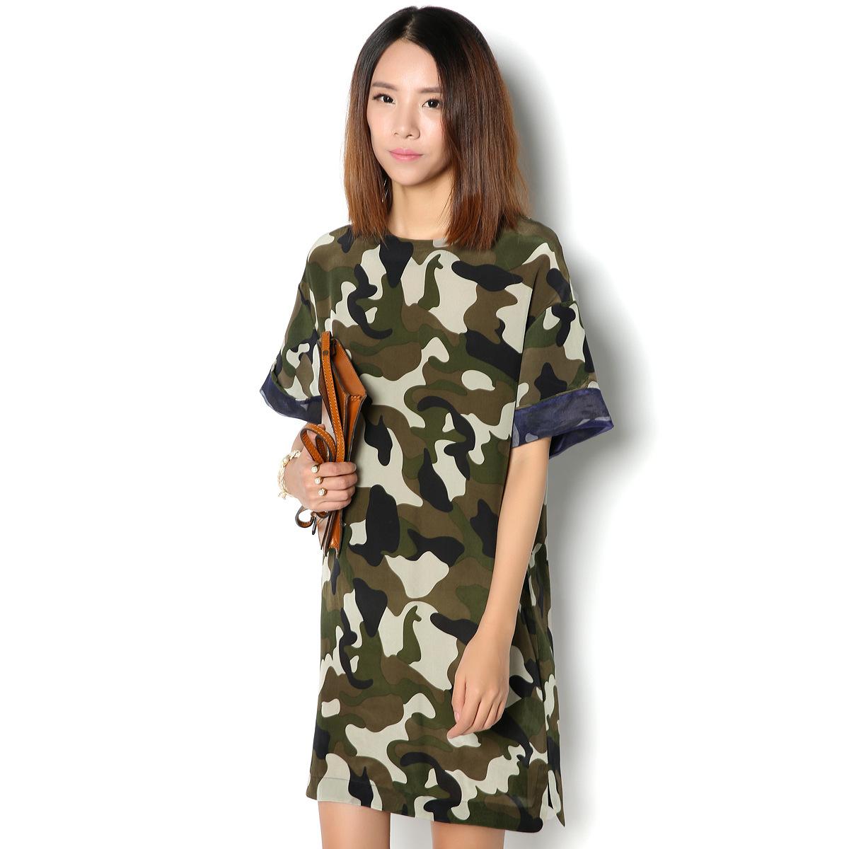 Платье из камуфляжной ткани