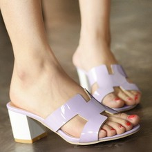 Summer shoes Woman square heel sandals open toe flip flops slippers big brand shoes Drop shipping(China (Mainland))