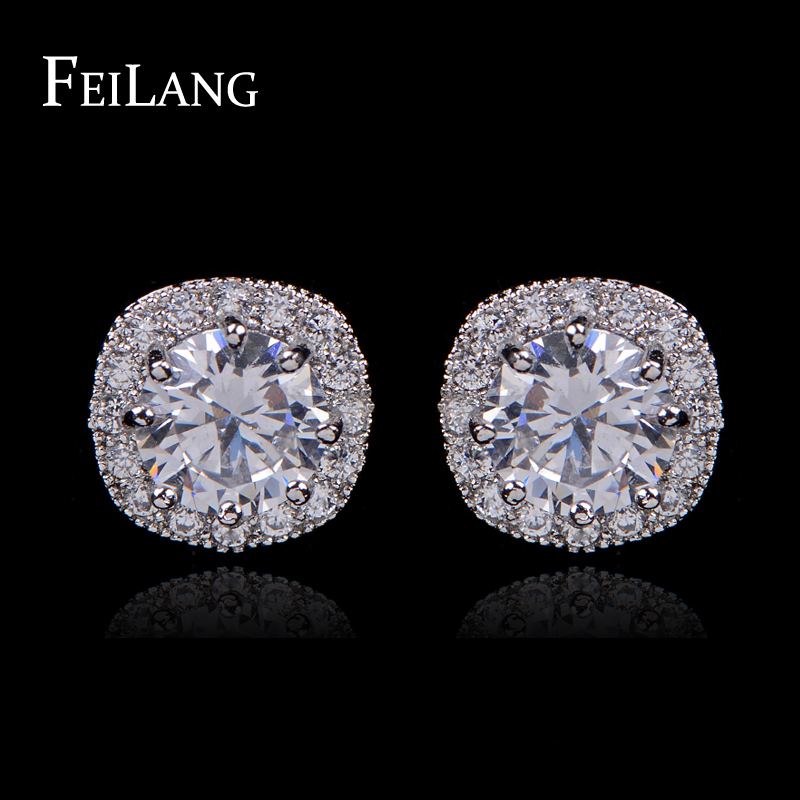FEILANG 4 Colors Options Fashion Jewelry Round AAA+ Cubic Zirconia Diamond Stud Earring For Women (FSEP102)(China (Mainland))