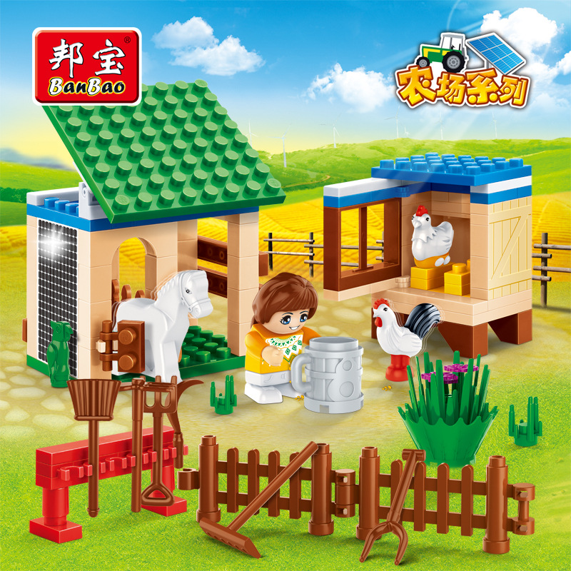 Bangbao building block set compatible with lego farm Pastoral style paddock 3D Construction Brick Educational Hobbie Toy for Kid(China (Mainland))