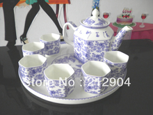 Free Shipping Blue And Withe Glaze Bone China Tea Set One Teapot And Six Tea Cup