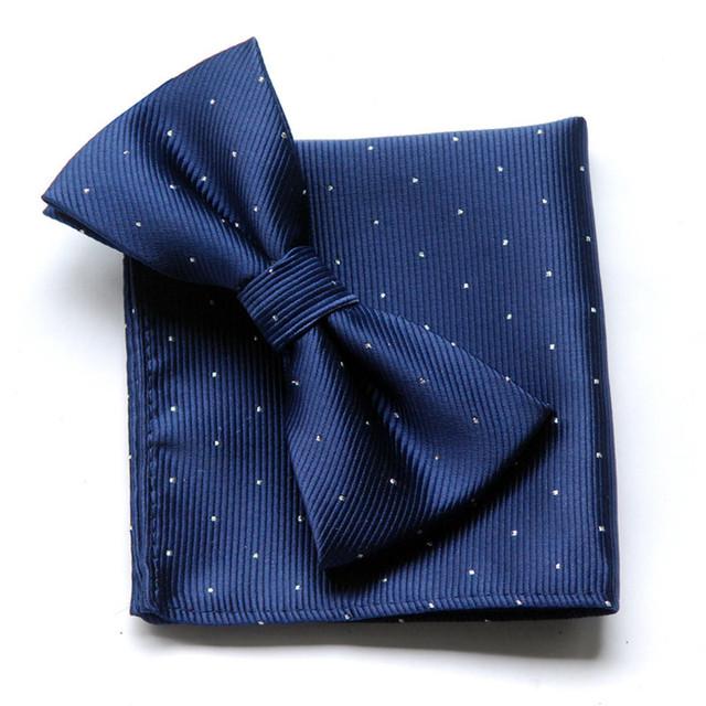 Мужской набор регулируемой бабочки и галстука темно-синего цвета