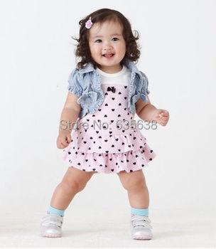 2Pcs Kids Clothing set Baby Girls Dress + Top Summer Beach Denim Waistcoat Outfits free shipping