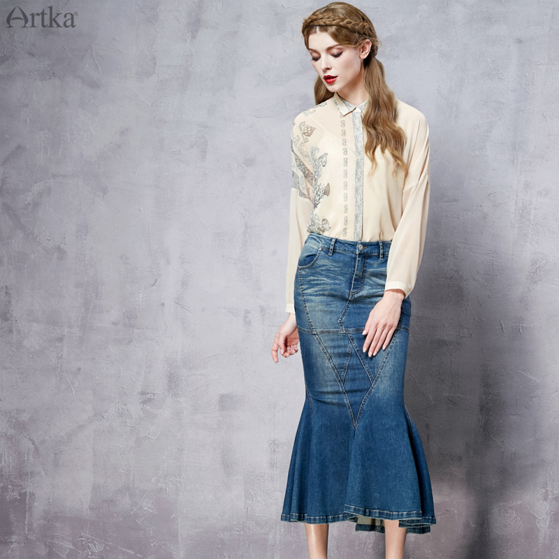 Artka Womens Spring New Denim Mermaid Skirt Fashion Solid Color Mid-Calf Skirt With Pockets QN10265CОдежда и ак�е��уары<br><br><br>Aliexpress