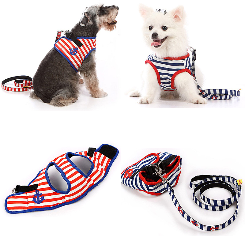 Couture Designer Military Dog Harness Puppy Accessory Sailor Striped Cotton Dog K9 Harness Dog Leash Set for Small to Large Dogs(China (Mainland))