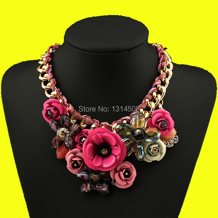2015 New Fashion Choker Necklaces Hot Vintage Fine Jewelry Big Flower Glass Chunky Statement Power Necklaces&Pendants for Women(China (Mainland))