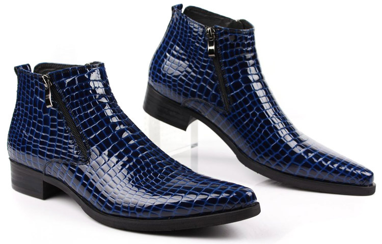 large size blue serpentine genuine leather motorcycle boots mens ankle boots pointed toe buckle. Black Bedroom Furniture Sets. Home Design Ideas