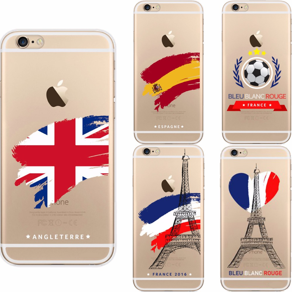 England Spain Italy France Germany European Football ornament Hearts the Eiffel Tower soft case cover for iPhone6 6S(China (Mainland))