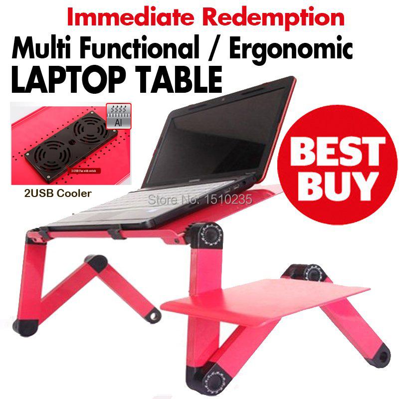 Multi Functional Ergonomic foldable laptop table for bed stand E-Table Portable Laptop stand with 2 USB Cooler and mouse pad(China (Mainland))