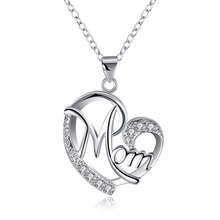 Buy Love Mom Gift Great Mama Pendant Necklace Silver Plated Jewelry Christmas Gift Mother MUM Letters Heart Pendant Wholesale for $2.76 in AliExpress store