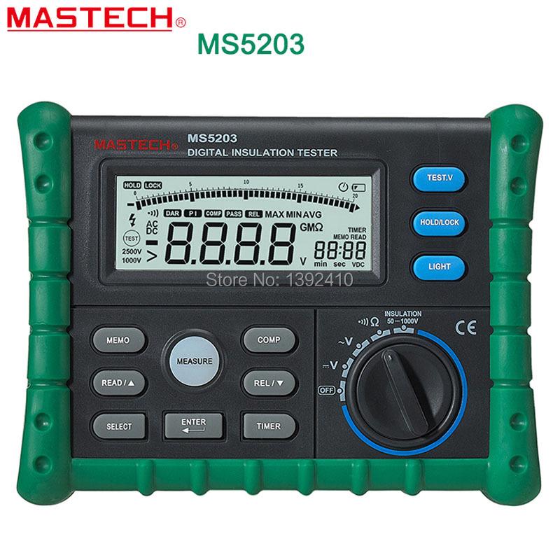 MASTECH profession Digital Insulation MS5203 ResistanceTester Multimeter Megger 0.01 Mohm - 10.00 Gohm HV Meter 50V-1000V Output<br><br>Aliexpress