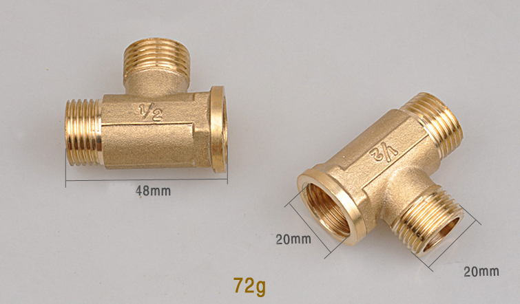 """2pcs 1/2"""" Male Male Female Tube Connectors Copper Thickening Pipe Gas Pipe Fittings Copper Tee(China (Mainland))"""