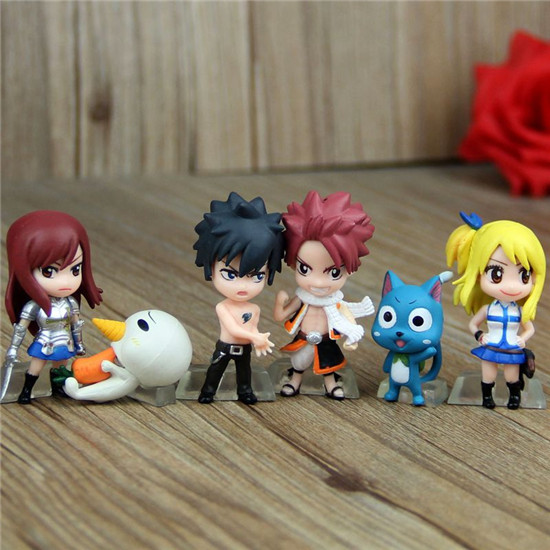 10 sets Fairy Tail figure 6 pcs/set Natsu Lucy Erza action toys anime Happy key chains mini doll for gift free shipping