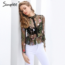 Buy Simplee Black flower embroidery blouse shirt Women tops blouse chemise femme camisa Transparent long sleeve summer 2017 blusas for $15.29 in AliExpress store