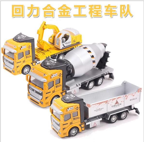 Children's educational model 1:48 warrior alloy car models truck excavator engineering alloy toy car(China (Mainland))