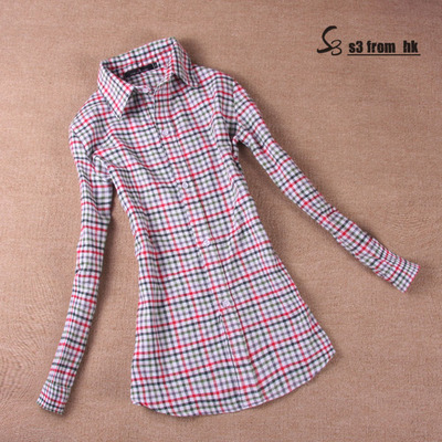 2015 women casual long sleeve shirts Sale female body spring autumn winter Flannel XXL cotton plaid sheer slim TOP blouse(China (Mainland))
