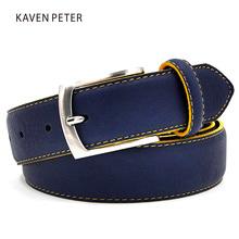 Buy Man Split Leather Belt Italian Design Casual Men's Belts Blue Color Belts Factory Direct Sales Free Shipment for $7.90 in AliExpress store