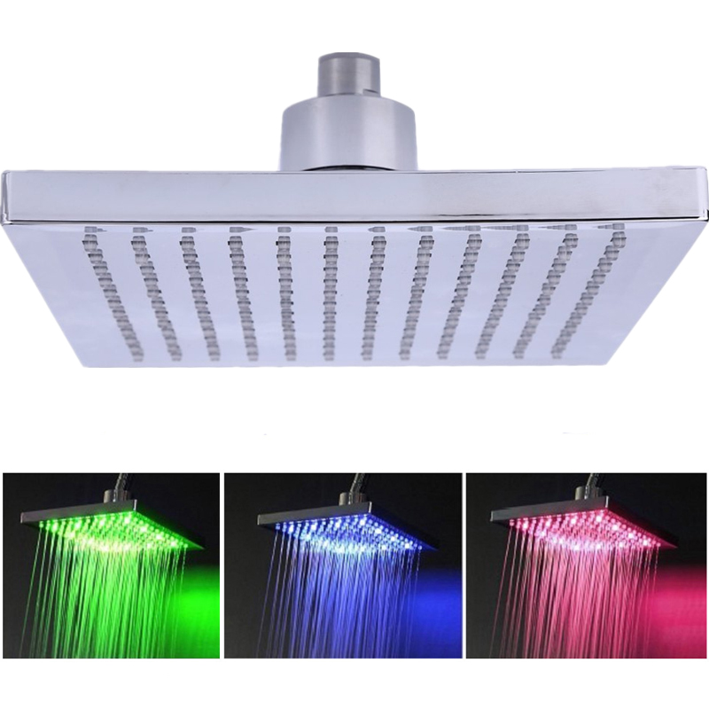 8-inch Square Temperature Sensitive Rainfall LED Shower Head Power from Water Flow 3 Color Change Shower Head With LED Light(China (Mainland))