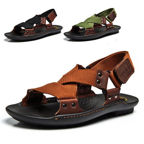 Summer Shoes Men Genuine Leather Fashion Casual Sandals Beach NEW  -  CN Shoes store