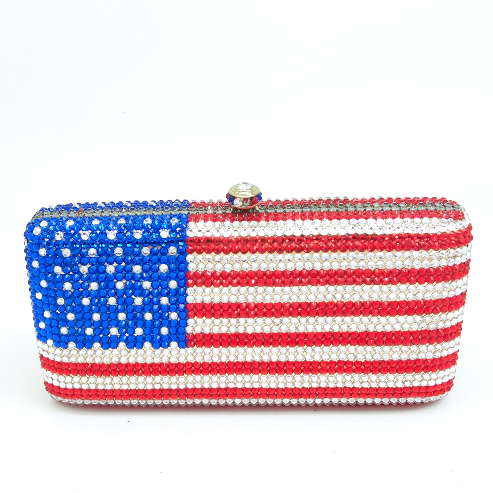 Фотография Gift Box Packed Snake Chains American National Flag Mini Minaudiere Women Wedding Clutches For Bride Crystal Clutch Evening Bags