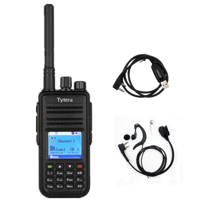 Tytera TYT MD-390 DMR Digital Radio Waterproof Dustproof IP67 Walkie Talkie Transceiver UHF 400-480MHz+ Cable +Headset(China (Mainland))