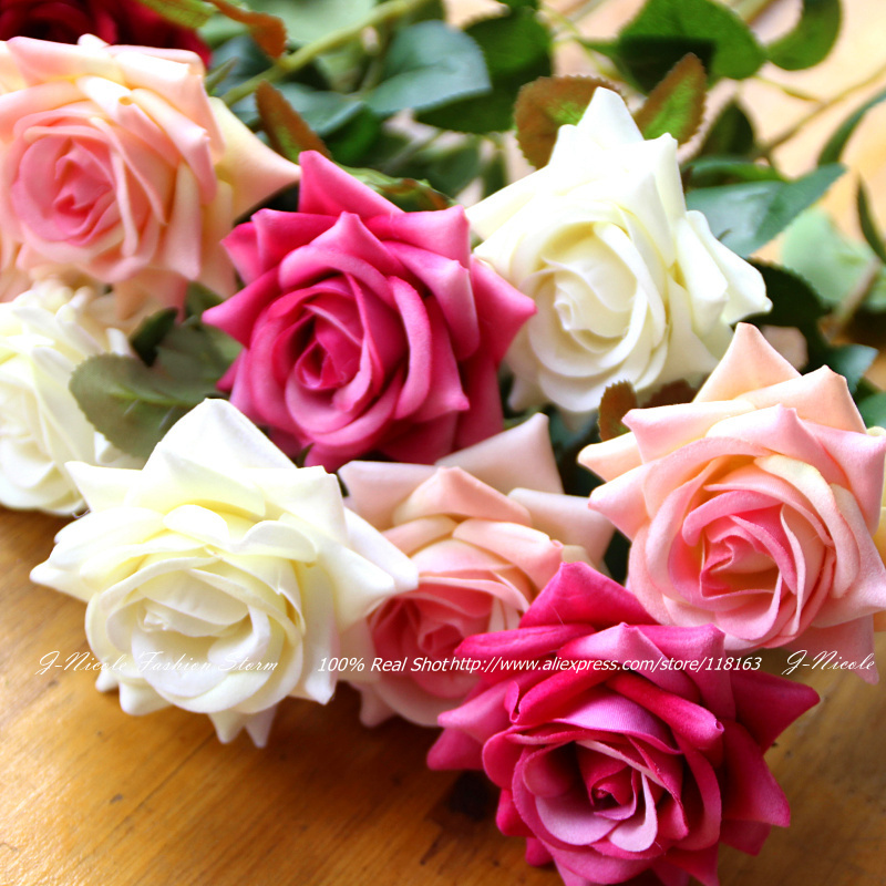 Wholesale 1 Head Mini Artificial Flannelette Rose Valentine's Day Gift Home Table Decorative Flowers for Wedding Bouquets(China (Mainland))