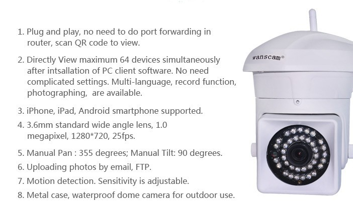 Wanscam HW0023 Outdoor HD 720P P2P Wireless Waterproof IP Webcam Smartphone View Supported Outdoor Wifi H264 720P Monitor Camera