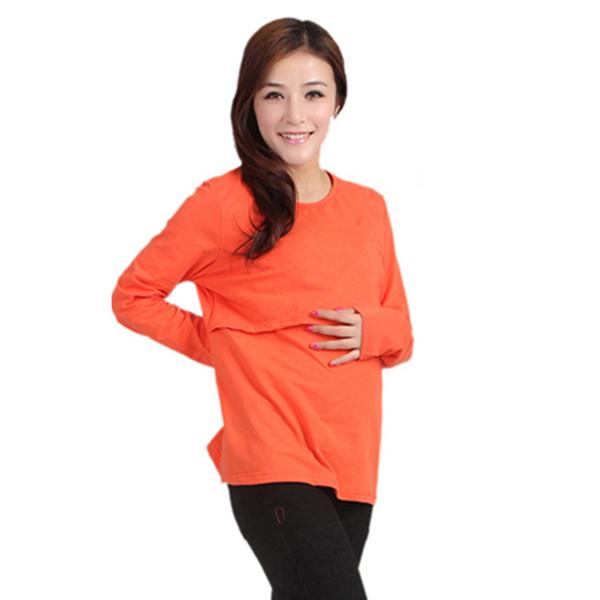 Brand Elasticity Cotton font b Maternity b font Nursing Long Sleeve O Neck Pregnant Women Casual
