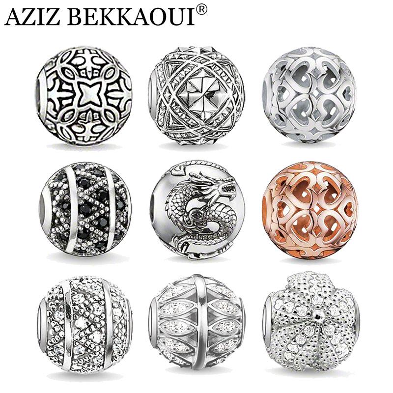 AZIZ Brand European style vintage silver heart crystal beads fit pandora bracelets necklaces diy women men jewelry - BEKKAOUI Offical Store store