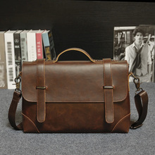 selling 2016 years men's handbag OL business computer briefcase Messenger Bag Inclined shoulder bag Crazy horse leather