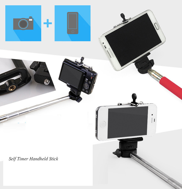 New Extendable Hnadheld Wholesale Wireless phone Monopod Stick Self Timer For Camera Cell Phone handheld Stick UC0035(China (Mainland))