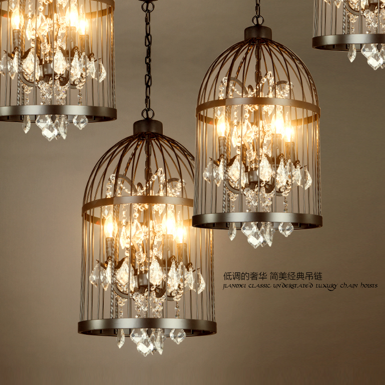 Купить Американский ретро кристалл из светодиодов висит лампа ржавчины клетка подвесные светильники D35CM черный / ржавчина / золотые цвета 110 / 220 В