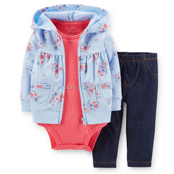 Origina Carters Baby Girl Bebes Clothing Set ,Carters Set Suit Conjuntos Floral Print Coat+ Doted Bodysuits +Jean pants 3pcs