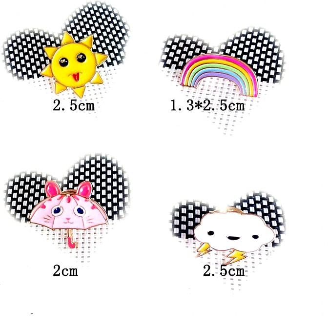 free shipping 6pcs/lot fashion jewelry accessories small size enamel metal sun rainbow umbrella cloud brooch pin(China (Mainland))