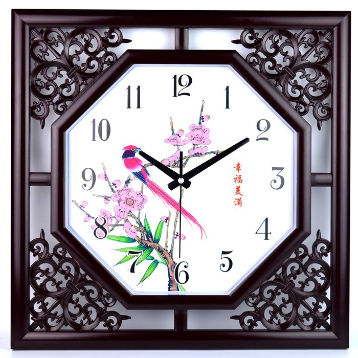 Chinese wind 18-inch clock wall clock sitting room clock mute Chinese quartz clock office block watch classical bedroom(China (Mainland))