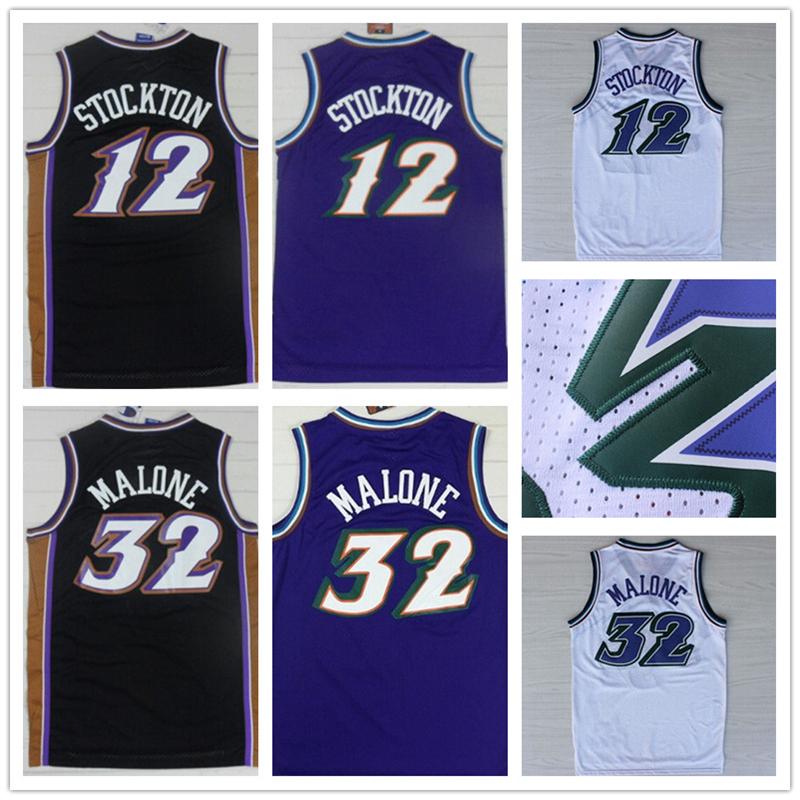 Basketball Jersey Black Purple white #12 Retro John Stockton Jersey Throwback,Stitched Wholesale Cheap #32 Karl Malone 2016(China (Mainland))