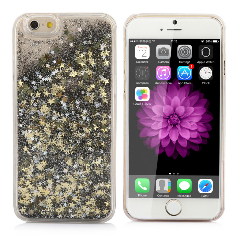 """New Style Glitter Bling Colorful Dynamic Quicksand Star Liquid Hard Back Cover Clear case For iphone 6 4.7"""" YC1141(China (Mainland))"""