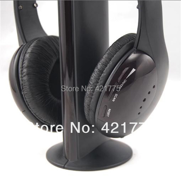 Free Shipping 5 in 1 Wireless TV RF Headphones Headset earphones with Mic for PC laptop DVD CD MP3 MP4 Hot sales(China (Mainland))