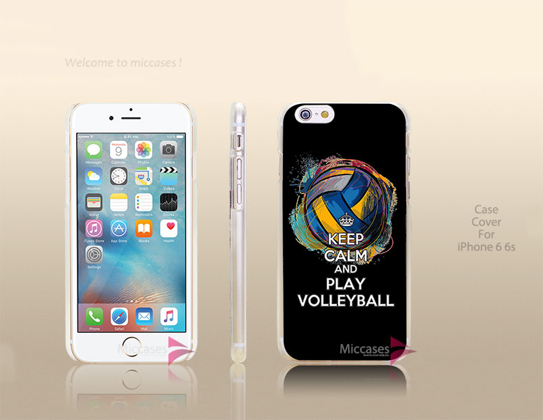 keep calm and play volleyball dark black Hard Transparent Clear Case Cover for apple iphone 4 4s 5 5s 5c se 6 6s plus(China (Mainland))